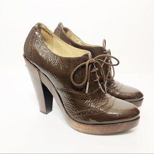 Michael MK Panama Patent Leather Wood Oxford Heel